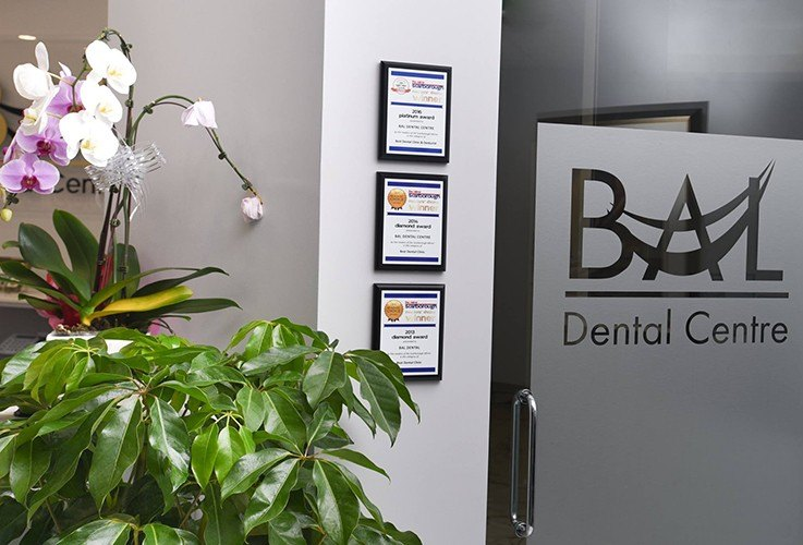 Dental certifications on wall