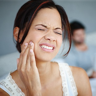 Scarborough Root Canal Therapy woman wincing in pain